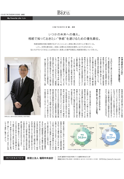 2日本経済新聞 情報誌Biz Life Style「相続対策特集」に税理士法人 福岡中央会計